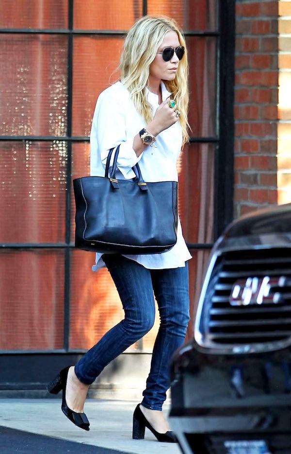 Olsens-Anonymous-Blog-15-Ways-To-Do-New-York-City-Like-An-Olsen-Twin-Mary-Kate-Birthday-White-Shirt-The-Row-Bag-Jeans-Block-Heels-Via-Refinery-29