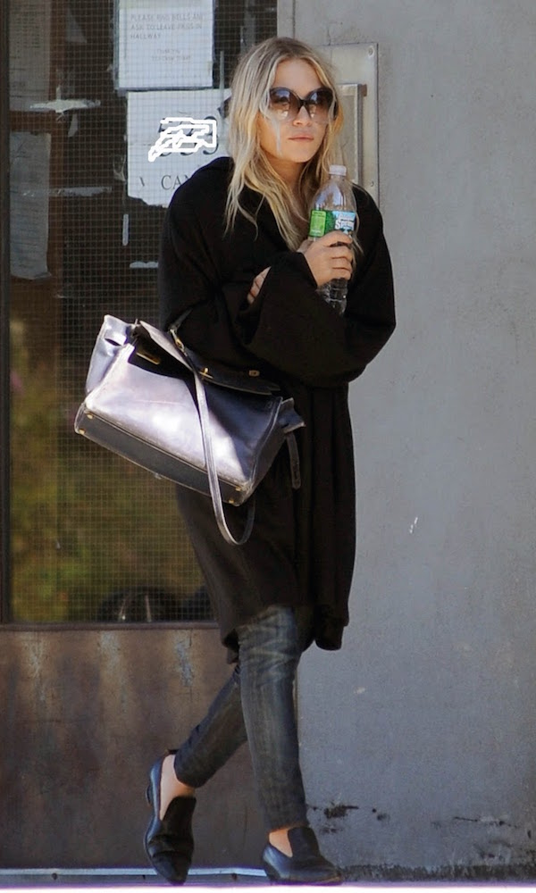 Olsens-Anonymous-Blog-Stye-Fashion-Mary-Kate-Olsen-Twins-Gradient-Sunglasses-Long-Cardigan-Coat-Hermes-Bag-Grey-Skinny-Jeans-Leather-Pointed-Loafers